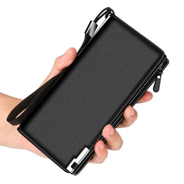 錢包男士長款潮牌手包拉鏈一體卡包大容量多功能20卡位零錢包商務晴天時尚