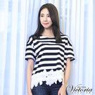 Victoria 條紋拼接下襬蕾絲短袖T-女-黑白條紋-Y8508088(領劵再折)