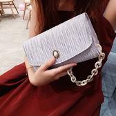 褶皺復古珍珠扣緞面迷你包亞克力手提斜跨包手拿包晚宴手包  lh1147【3C環球數位館】