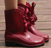 中筒雨靴-質感防滑隨意防水男女雨鞋6色5s42[時尚巴黎]