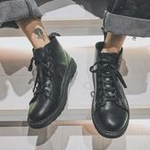 夏季工裝鞋男戶外復古沙漠黑色靴子皮軍靴高筒馬丁靴 居享優品