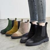 短靴女 馬丁靴子 靴子女秋冬新款歐美風切爾西女 真皮粗跟百搭中筒平底靴《小師妹》sm3084
