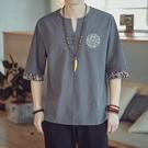 古風上衣 亞麻短袖T恤男夏季中國風棉麻體恤上衣潮流刺繡半袖胖子大碼男裝