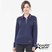 PolarStar 女 吸排長袖POLO衫『深藍』 P19222 戶外│休閒│登山│露營│排汗│機能│POLO衫