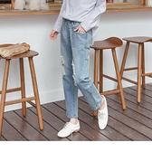 《BA2566》高含棉.率性刷破腰鬆緊牛仔/丹寧男友褲--適 XL~5L OrangeBear
