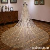 香檳色長款大拖尾新娘結婚頭紗抖音同款閃閃大頭紗網紅拍照頭紗