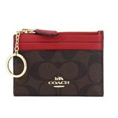 COACH PVC LOGO拉鍊證件零錢鑰匙包(咖啡/紅)