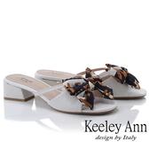 2019春夏_Keeley Ann細條帶 緞帶蝴蝶結低跟拖鞋(白色) -Ann系列