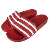 adidas 運動拖鞋 Adilette 紅 白 拖鞋 防水 基本款 三條線 男鞋 女鞋 【PUMP306】288193