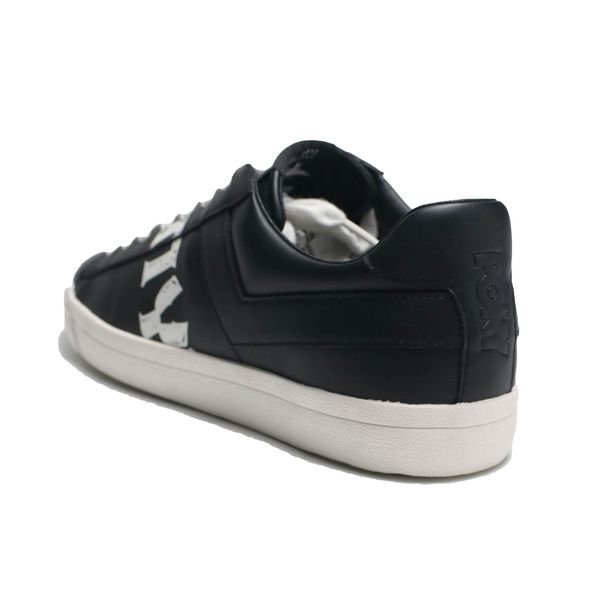 PONY 休閒鞋 黑 皮革 鞋身大LOGO 英文字 板鞋 男 (布魯克林) 91M1TS05BK