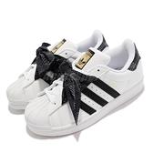 adidas 童鞋 Superstar J 白 黑 中童鞋 領結設計 綁帶 愛迪達 三葉草 【ACS】 Q47379