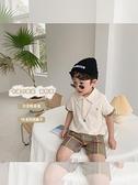 兒童套裝2021夏季新款男童韓版洋氣兩件套寶寶格子短褲刺繡Polo衫 幸福第一站