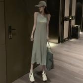 無袖洋裝 春季新款韓版修身顯瘦印花無袖背心裙子休閒中長款洋裝女裝 魔法鞋櫃
