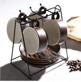 X-歐式下午茶陶瓷家用咖啡杯帶碟勺杯架禮盒套裝簡約骨瓷馬克水杯子【咖啡色/4杯裝/主圖】