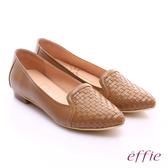 effie繽紛舒適 真皮編織尖楦低跟鞋 茶色