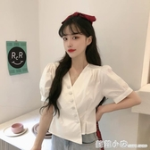 白色短袖襯衫女夏季新款韓版設計感不規則V領泡泡袖短款上衣 聖誕節全館免運
