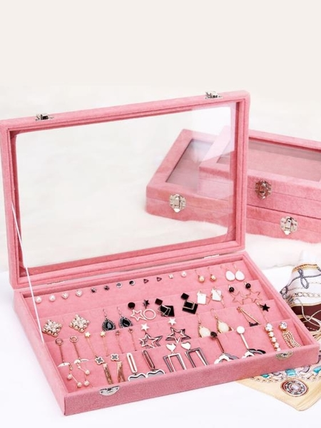 首飾盒xcx首飾收納盒簡約透明飾品耳環戒指多格公主歐式防塵結婚禮物【全館免運八五折】