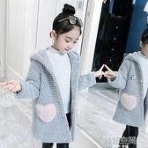 女童洋氣外套秋冬裝2021新款水貂絨加厚中長款韓版兒童毛呢子大衣