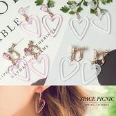 耳環 Space Picnic|預購.透明簍空愛心造型耳針/耳夾【C18052003】