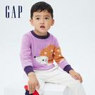 Gap幼童裝 可愛動物織紋刷毛毛衣 703946-薰衣草紫