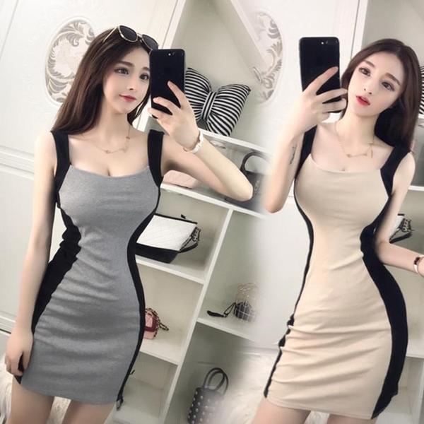 快速出貨 性感夜店女裝修身顯瘦拼色包臀緊身無袖吊帶洋裝 連身裙 潮裝