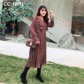 中大尺碼 (內刷薄絨)V領波點長袖洋裝~共兩色 - 適XL~5L《 67206HH》CC-GIRL