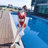 泳衣女三件套韓國溫泉小香風分體性感顯瘦小胸聚攏保守泡游泳衣【免運】