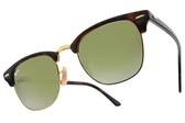 RayBan 太陽眼鏡 RB3016 9909J -51mm (琥珀棕金-綠水銀-漸層棕) 超夯新品墨鏡 # 金橘眼鏡