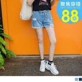 《BA4024-》高含棉刷破反褶腰圍綁帶丹寧牛仔短褲 OB嚴選