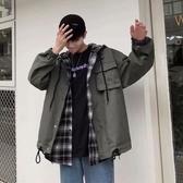 春季港風韓版潮流假兩件情侶外套衫bf風復古寬鬆潮流男士工裝夾克新年禮物 韓國時尚週