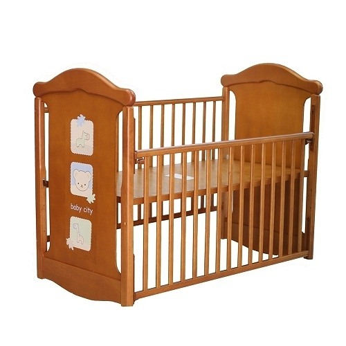 Baby City 動物熊搖擺中大床(柚木色)+床墊 BB49037BR贈蚊帳(顏色隨機出貨)[衛立兒生活館]