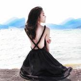 長洋裝 波西米亞風-時尚點點交叉露背女連身裙73mw9[巴黎精品]