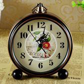 鬧鐘台式靜音床頭金屬5寸小座鐘客廳臥室歐式復古台鐘 至簡元素