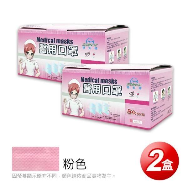 【南紡購物中心】【GRANDE格安德】醫用成人平面口罩(50片/盒),共2盒,粉色