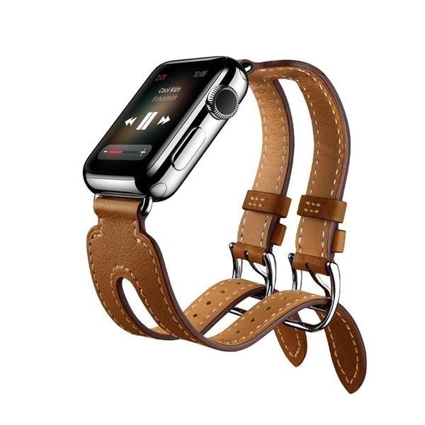 錶帶apple watch真皮錶帶蘋果iwatch雙扣手錶帶1/2/3代38/42mm 全館免運