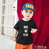 男童T恤 夏裝新款2兒童印花T恤3寶寶短袖黑色上衣4男童圓領純棉打底衫5歲  新年下殺