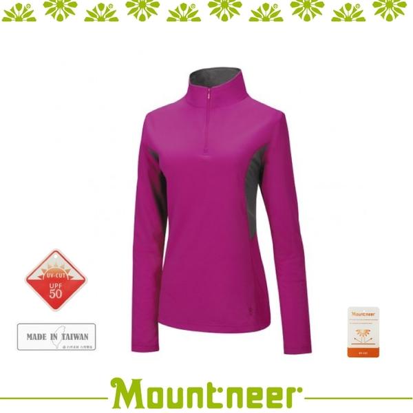 【Mountneer 山林 女 透氣排汗長袖上衣《亮紫》】21P38/吸濕排汗/快乾/抗UV
