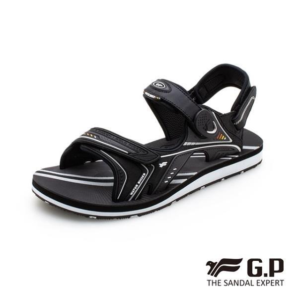 【南紡購物中心】G.P (男) 簡約男性兩用涼拖鞋-黑(另有藍、橘)