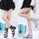 夏季新款中跟羅馬涼鞋海島度假交叉綁帶粗跟女涼鞋子女士百搭 喜迎新春