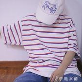 日繫復古小清新學院風撞色條紋海魂衫T恤 港味韓國男女BF寬鬆短袖   伊鞋本鋪