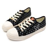 PLAYBOY 復古滿版PB印花帆布鞋-黑-Y6201CC