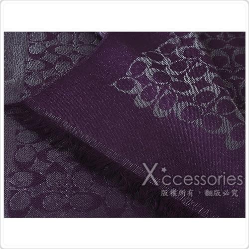 COACH 經典C 滿版LOGO棉質蔥亮流蘇披肩圍巾(銀紫)