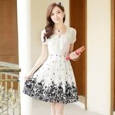 新品夏裝新款大尺碼女裝長裙子春中長版短袖拼接印花雪紡洋裝(M-5XL)4色
