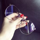 超大框圓臉文藝眼鏡框女韓版潮平光鏡