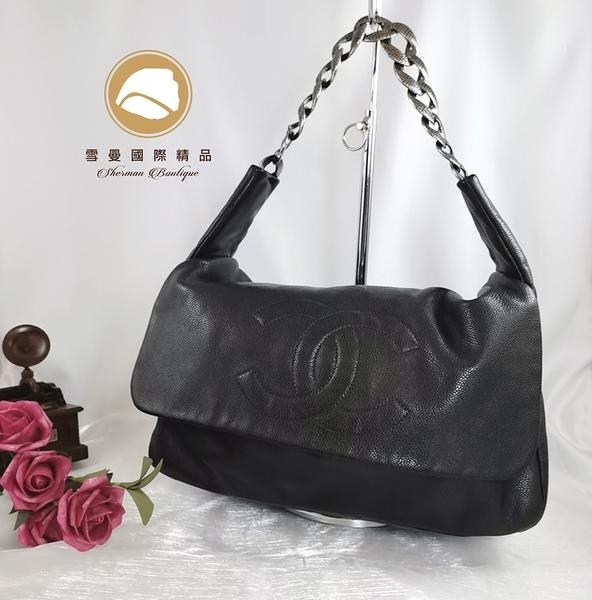 【雪曼國際精品】Chanel vintage 黑灰荔枝皮肩背大logo包~二手8.8成新