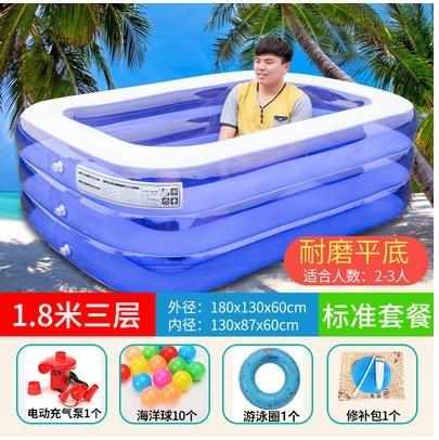 充氣泳池 兒童充氣游泳池家用成人超大號家庭大型加厚戶外浴缸小孩洗澡水池 夢藝