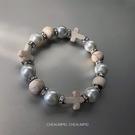 珍珠手鏈 CHEALIMPID/珍珠水鉆十字架手鏈高級感設計潮流嘻哈男女手串