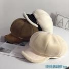 貝雷帽 韓版秋冬季羊羔毛絨八角帽保暖加厚...