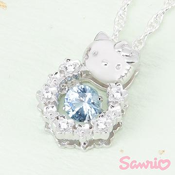 Hello Kitty凱蒂貓-花漾甜心(藍)-純銀項鍊