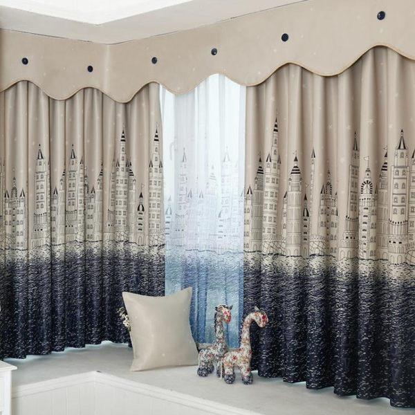 廳定制全遮光布料加厚客廳臥室成品兒童地中海短簾飄窗簾月光節